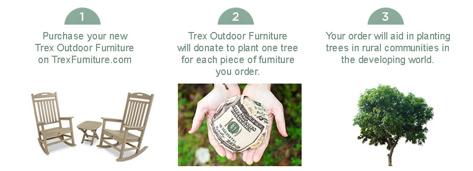 Purchase an item on Trex Outdoor Furniture and we'll plant a tree.