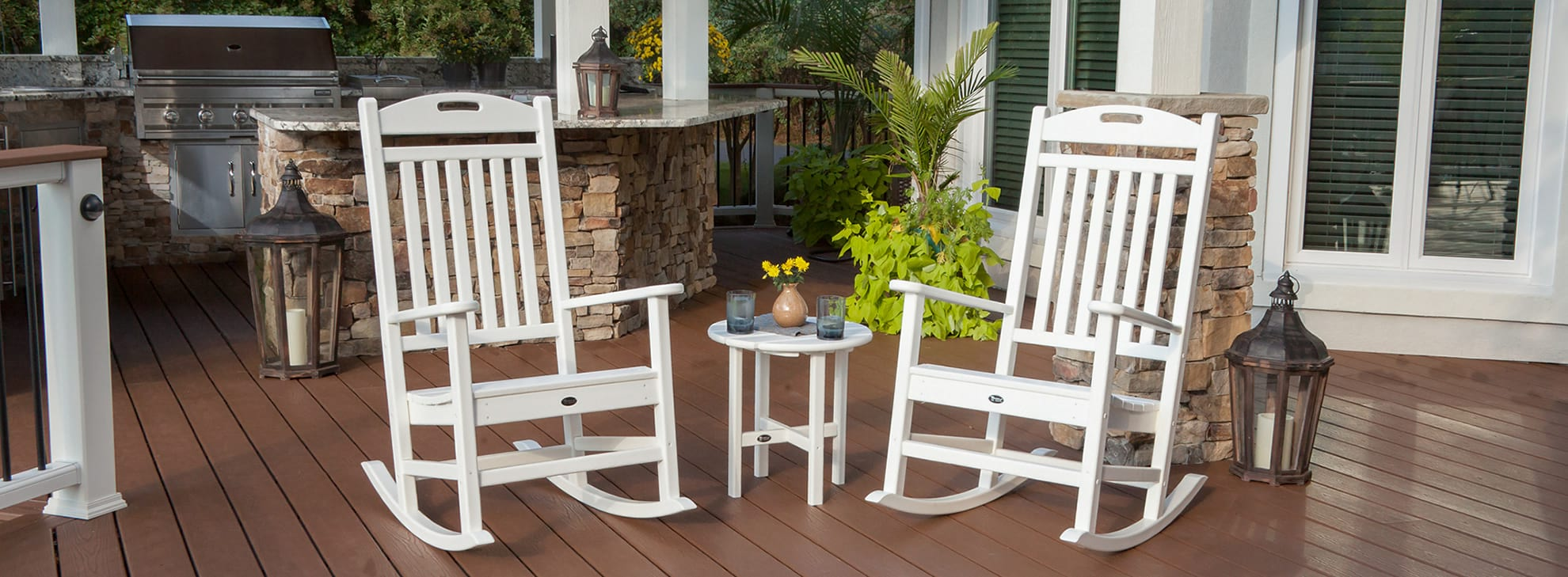 White Rocking Chairs on a Trex deck