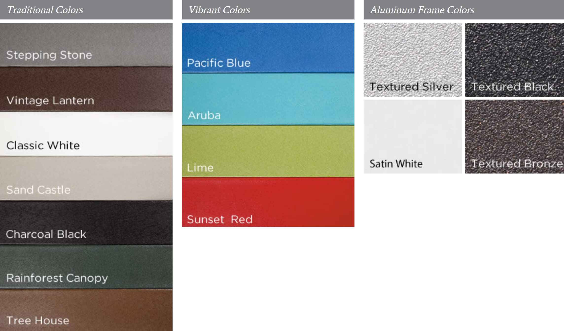 Trex Outdoor Furniture lumber and aluminum frame colors