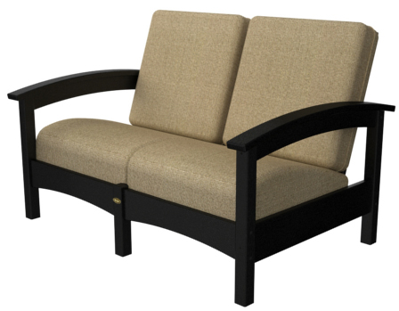 Rockport Collection Club Settee, Black Frame, Linen Seasame Cushion